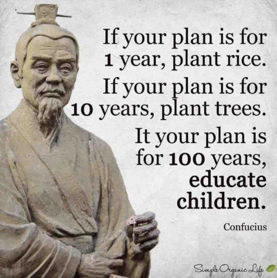 If your plan is for 1 year, plant rice. If your plan is for 10 years, plant trees. If your plan is for 100 years, educate children. - Confucius